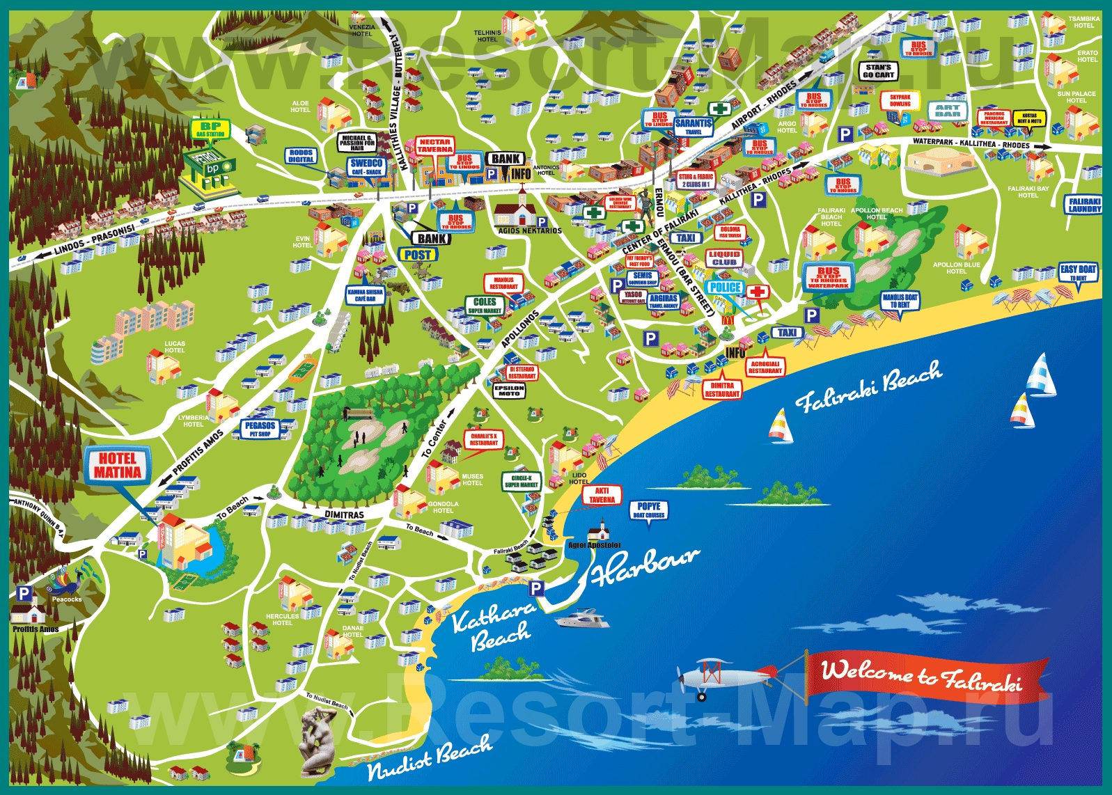 Фалираки на карте Родоса