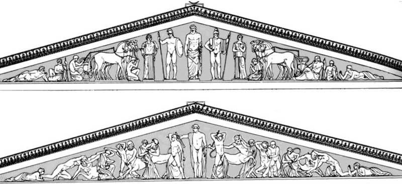 Фронтоны с барельефами Храма Зевса