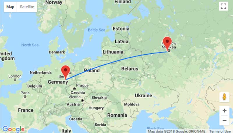 Расстояние от Москвы до Родоса