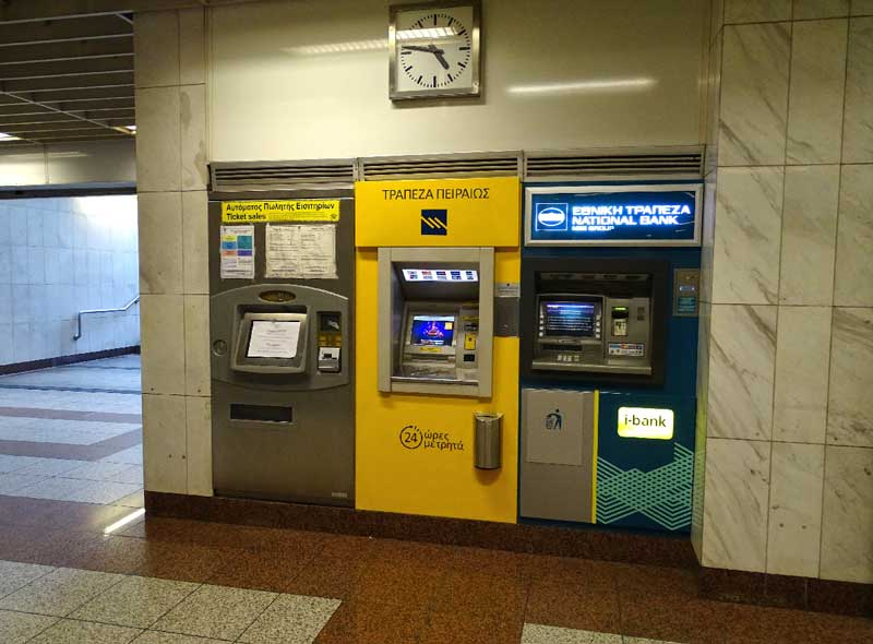 Терминалы продажи билетов в метро Афин
