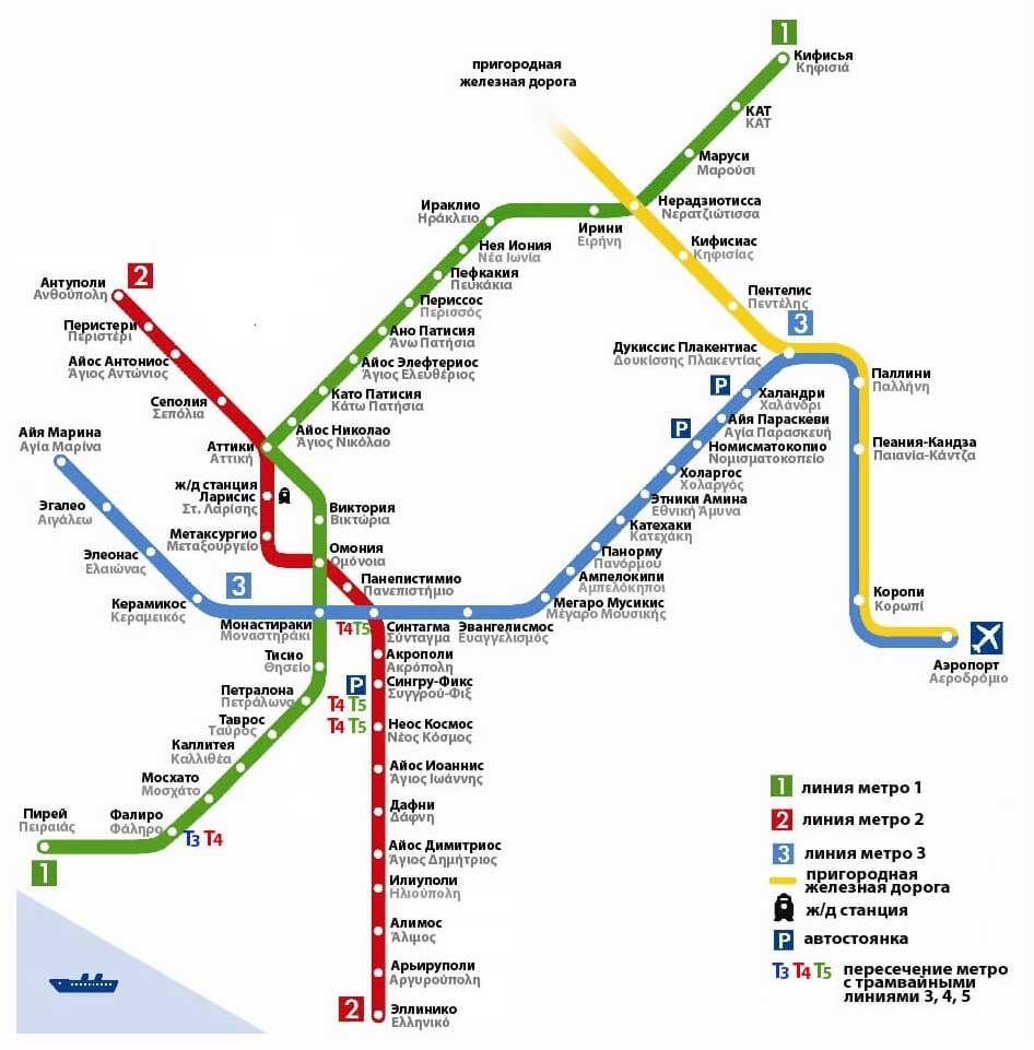 Схема метро Афин на русском языке