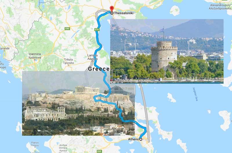 Афины Салоники расстояние