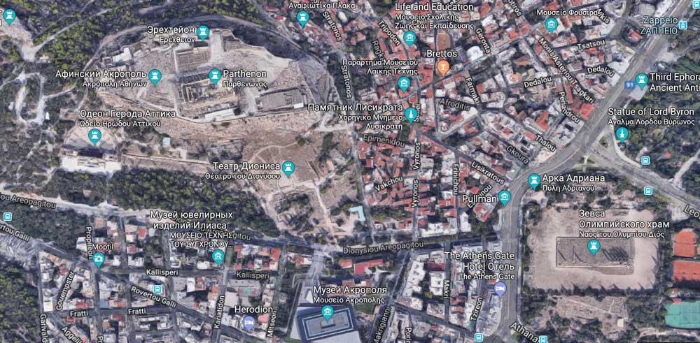 Афинский Акрополь на карте Греции