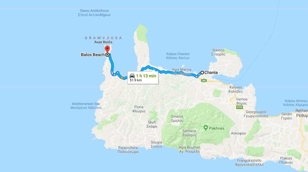 Бухта Балос на карте Крита