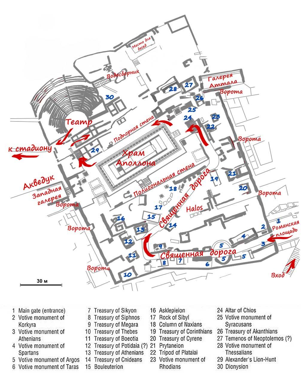 Храм Аполлона в Дельфах план комплекса
