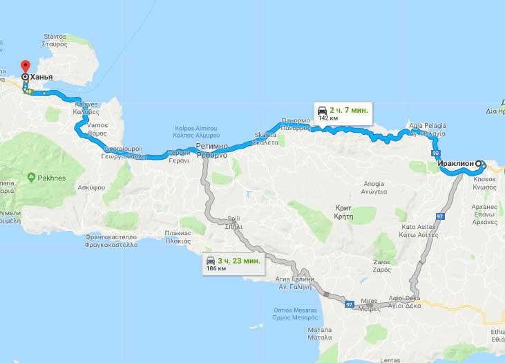 Расстояние от Ираклиона до Ханьи