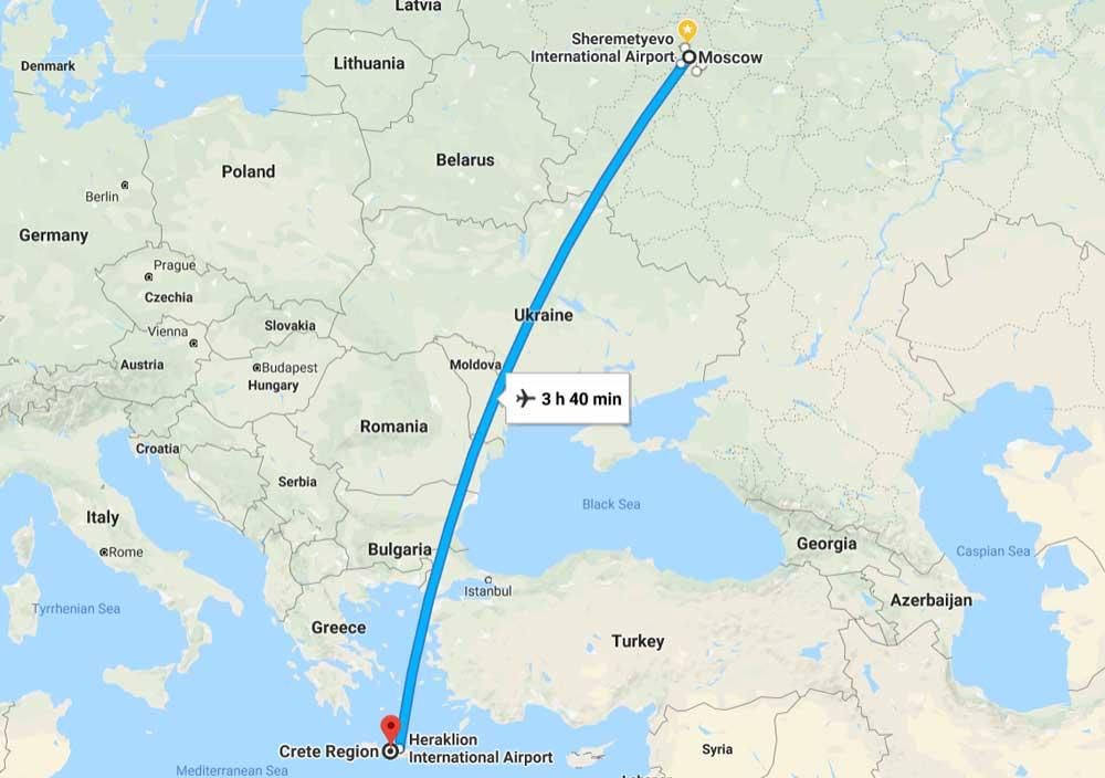 Сколько лететь из Москвы до Крита