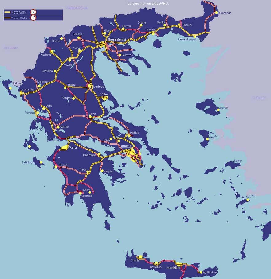 В Грецию на машине - дороги Греции